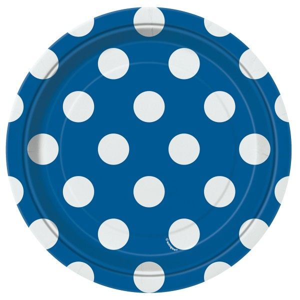 Pappteller Punkte, blau,  18cm, 8 St