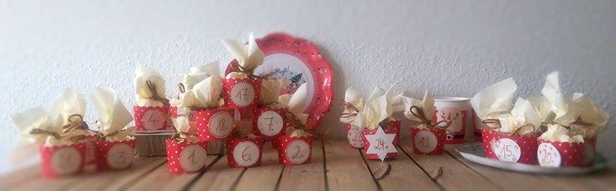 Servietten + Muffinförmchen + 24 kleine Geschenke = wundervoller Adventskalender.