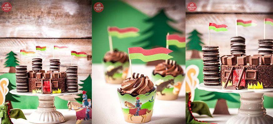 Zu der Ritterburg passen kleine Schoko-Muffins, am besten mit den passenden Banderolen verziert.