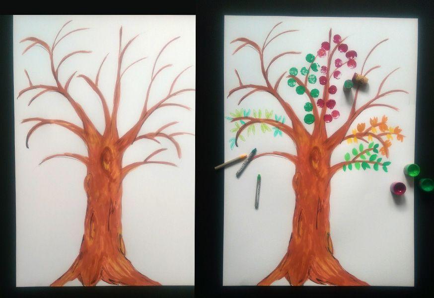 Für unseren Baum haben wir uns für Korkdruck, Wachsmalstifte und Schulmalfarben entschieden.