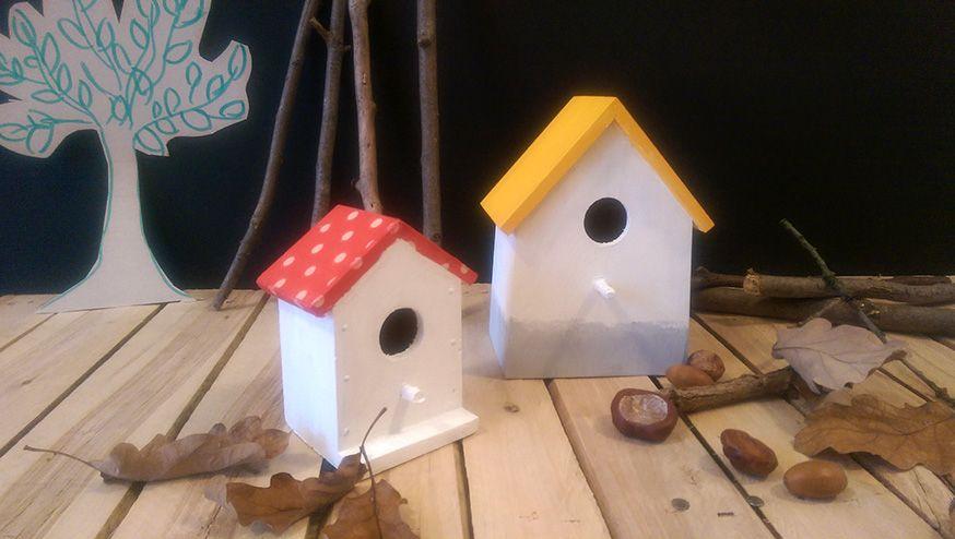 Die Vogelhäuschen können nach dem Kindergeburtstag im Garten aufgehangen werden.