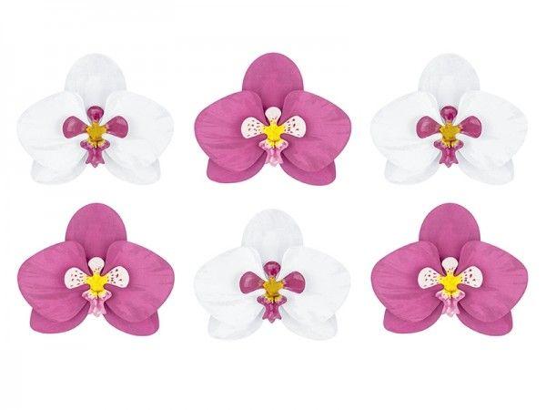 Tischdekoration aus Papier, Hawaii Orchideen, 6 Stück
