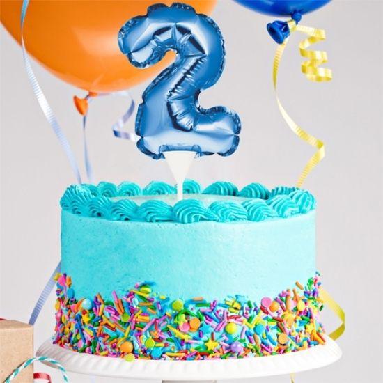 Kuchenpicker Folienballon Zahl 2 in Blau, 22 cm klein, selbstaufblasend, 1 Stück