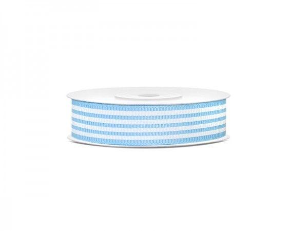 Geschenkband, gerippt, Hellblau-Weiß, 10 m