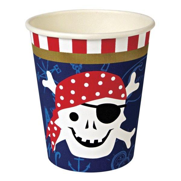 Pappbecher Pirat, 266ml, 12 Stück