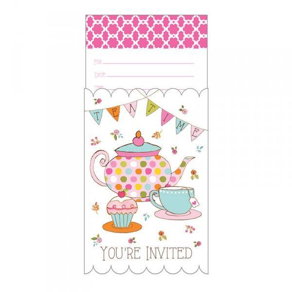 Einladung Tee Party, 10x15cm, 8 Stück