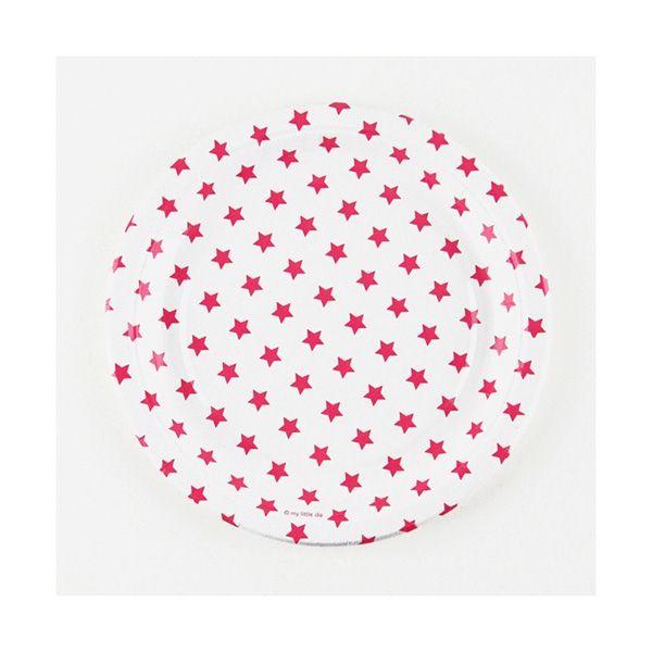 Pappteller Sterne, pink, ø 23cm, 8 Stück