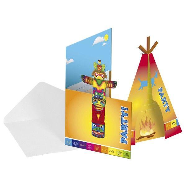 Einladungskarten Indianer, 8 Stück