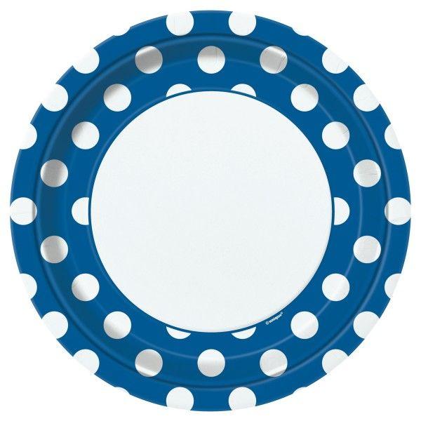 Pappteller Punkte, blau,  23cm, 8 St