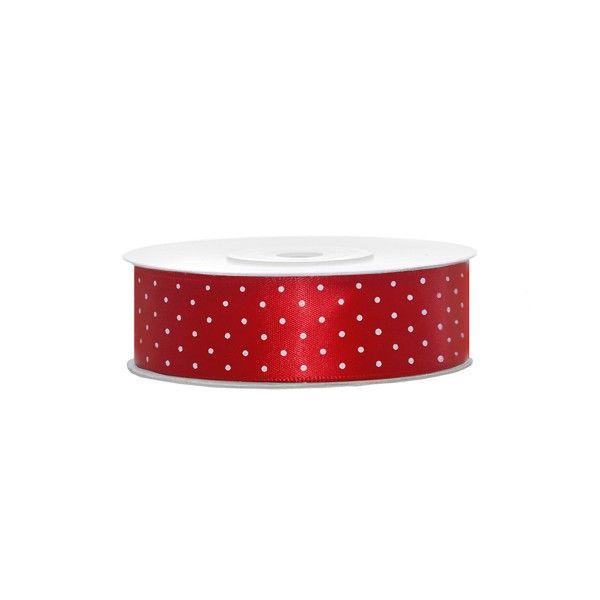 Satinband rot mit weißen Punkten, 1 Rolle