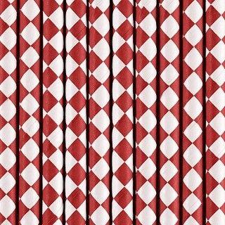 Strohhalme aus Papier, Rot-Weiß, 10 Stück