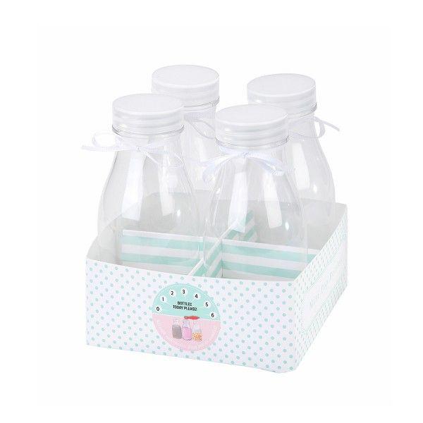 Mini Trinkfläschchen mit Deckel, 350ml, 4 Stück