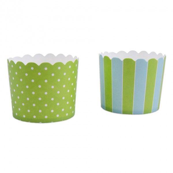 Muffinförmchen Streifen grün/blau, 12 Stück
