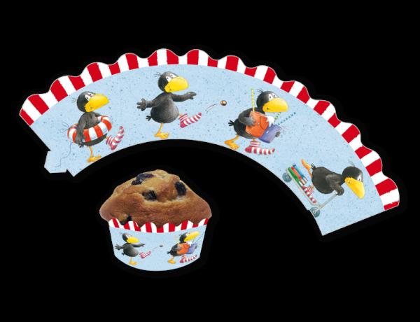 Deko-Banderolen für Muffins und Cupcakes Rabe Socke, 12 Stück