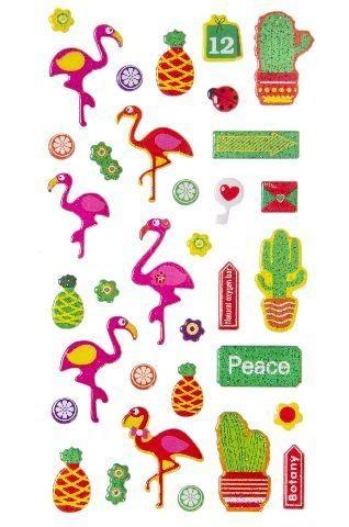 Aufkleber Flamingo, 32 Stück, ein Stickerbogen