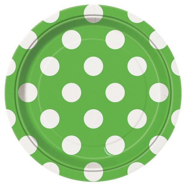 Pappteller Punkte, grün, ø 18cm, 8 Stück