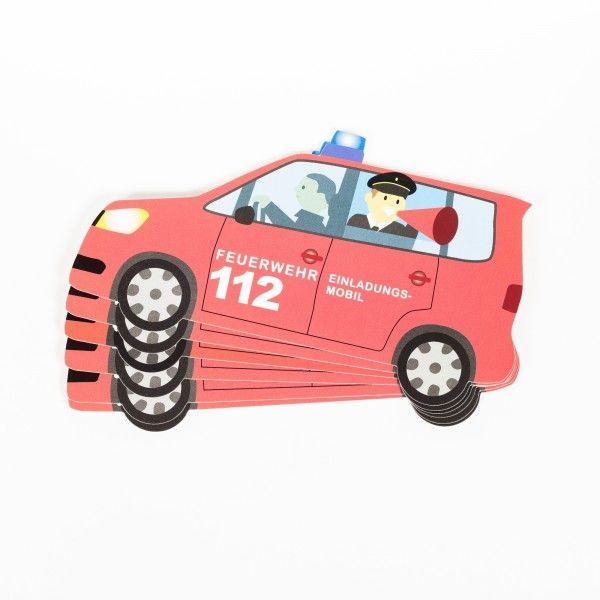 Einladungskarten Feuerwehr, 6 Stück