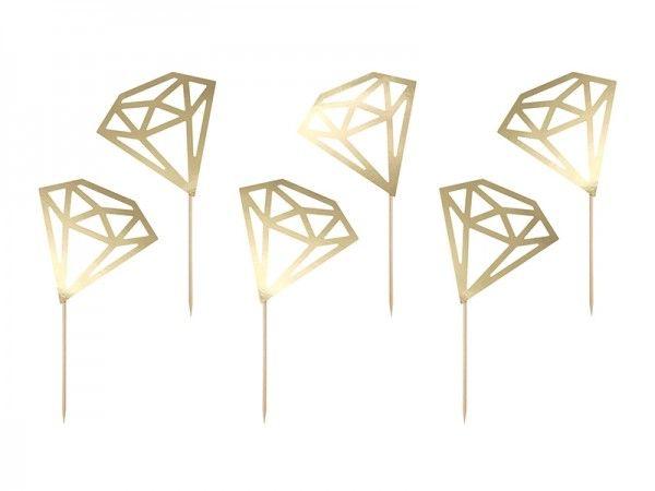 Cupcake Topper Diamanten, gold, 6 Stück