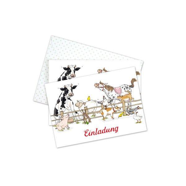 Einladungkarten Bauernhof mit Umschlag, 6 St