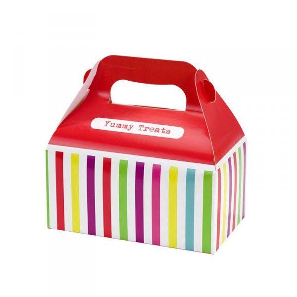 Partyboxen Streifen, bunt, 4 Stück X X
