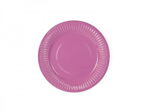 Pappteller, Pink, 6 Stück, Ø 18 cm