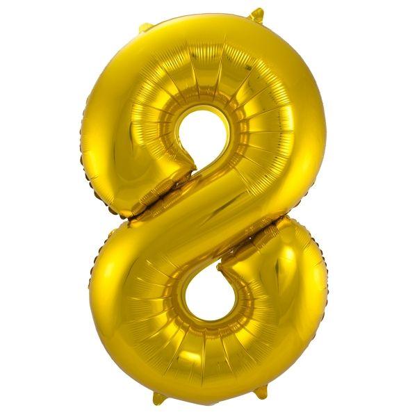 XL Folienballon Zahl 8 in Gold, 86 cm, 1 Stück, Helium Ballon (unbefüllt)