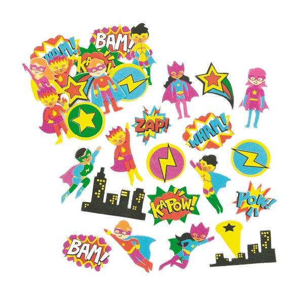 Moosgummi-Aufkleber Superhelden, 120 Stück