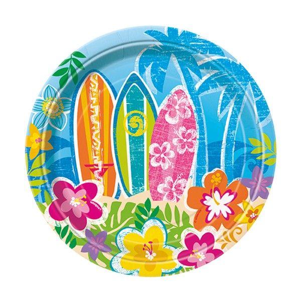 Pappteller Hawaii, ø18 cm, 8 Stück