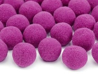 Deko-PomPoms aus Plüsch, pink, 20 Stück