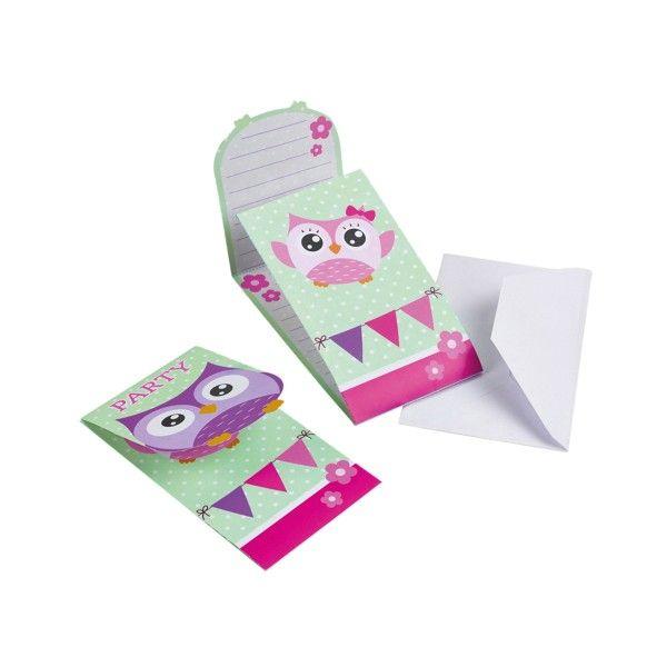 Einladungskarten mit Umschlag Eule, 8 Stück