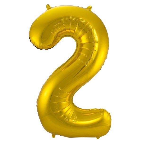 XL Folienballon Zahl 2 in Gold, 86 cm, 1 Stück, Helium Ballon (unbefüllt)