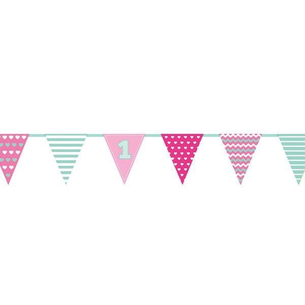 Wimpelkette 1. Geburtstag rosa, 1,35m, 1 St