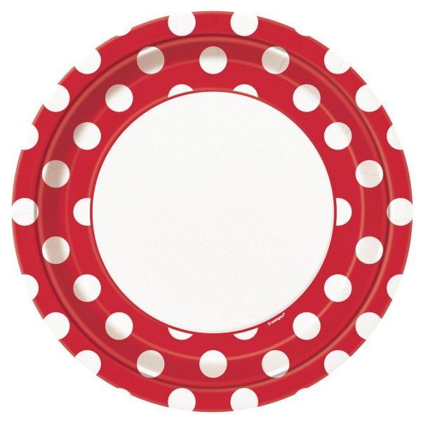 Pappteller Punkte, rot,  23cm, 8 St