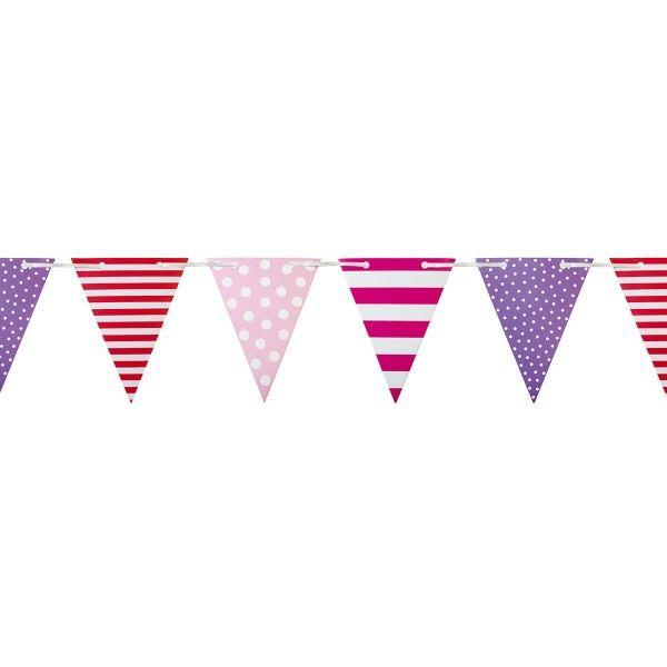 Wimpelkette gestreift/gepunktet, pink, 4,5m