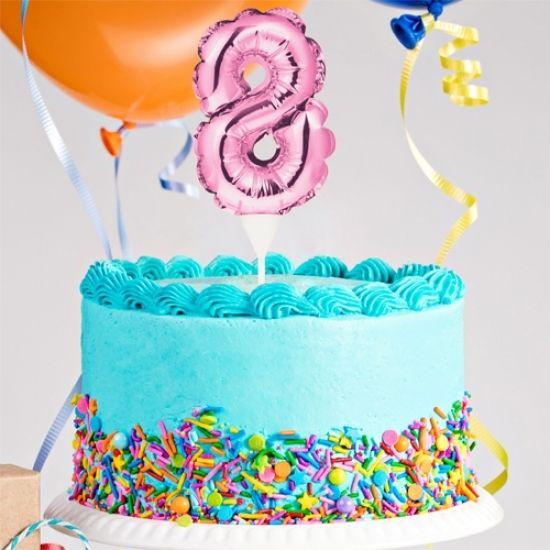 Kuchenpicker Folienballon Zahl 8 in Pink, 22 cm klein, selbstaufblasend, 1 Stück