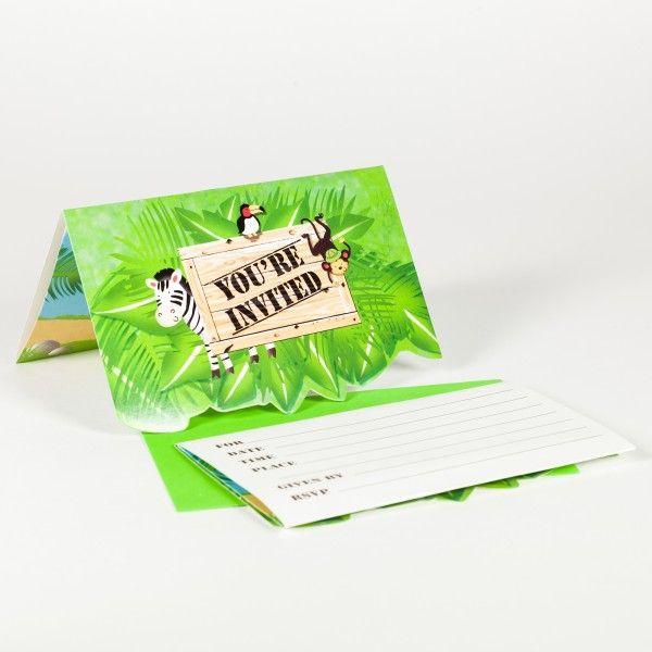 Einladungskarten  Dschungel, 8 Stück