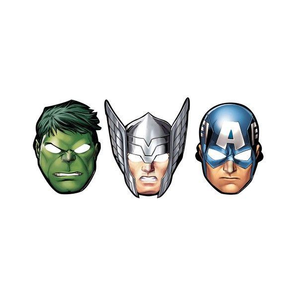 T1142221-Pappmasken-Avengers-8-Stueck