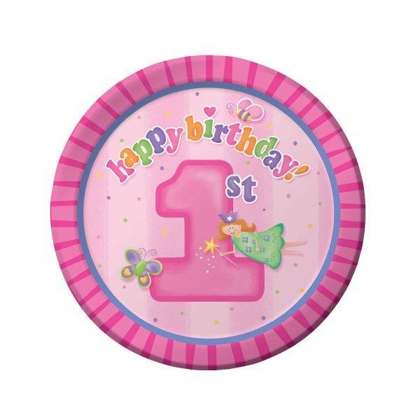 Pappteller 1. Geburtstag, rosa, ø 23cm, 8 Stück