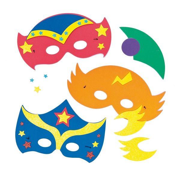 Bastelset Moosgummi-Masken Superhelden, 4 Stück