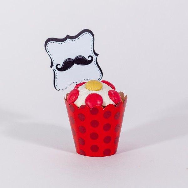 Muffinförmchen und Muffinpicker Schnurrbart, rot/schwarz