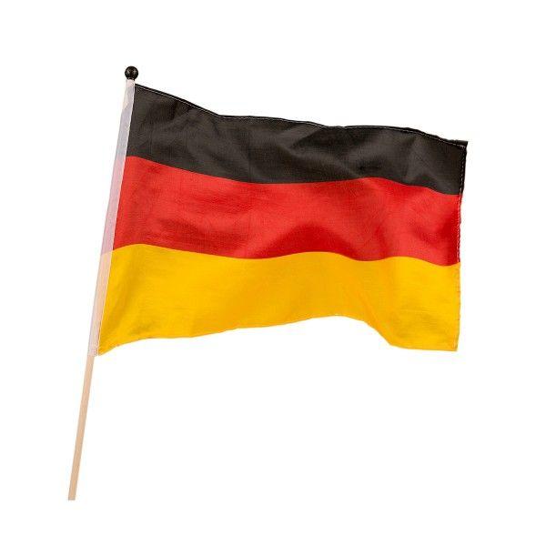 Fahne Deutschland, Flagge 30 x 45 cm auf Holzstab