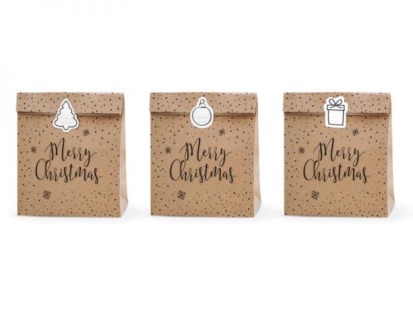 Tüten Weihnachten, Geschenktüte Merry Christmas, 3 Stück groß mit Sticker
