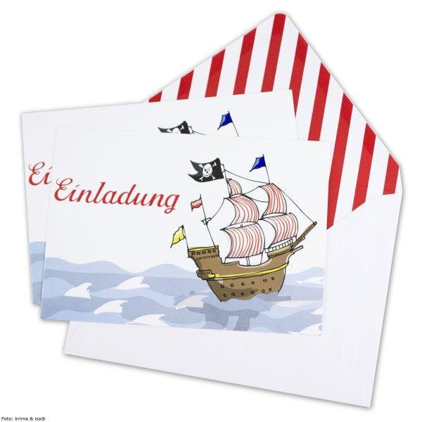Einladung Piratenschiff, 6 St