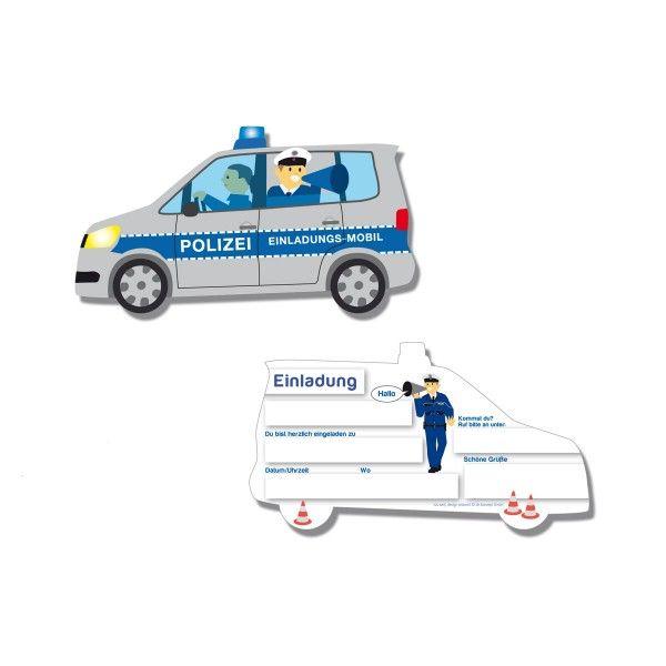 Einladungskarten Polizei, 6 Stück