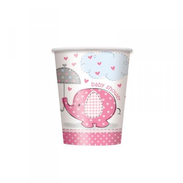 Pappbecher Baby rosa, 266ml, 8 St