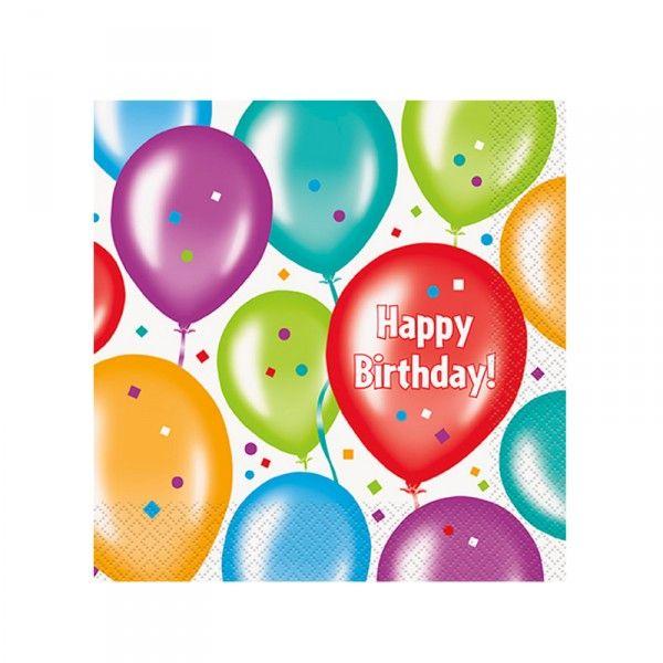 Servietten Ballons, Happy Birthday, 16 Stück