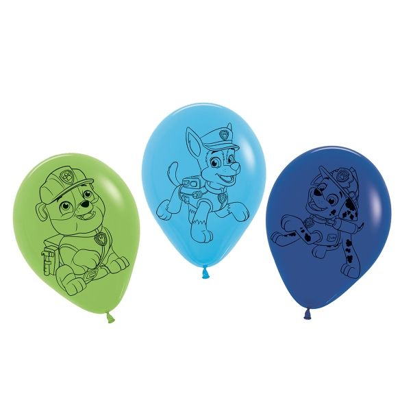Luftballons Paw Patrol, blau und grün, 5 Stück