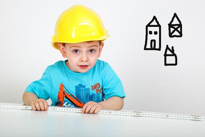 Die kleinen Bauarbeiten haben bestimmt schon eine Idee, wie ihr Haus aussehen soll. • Foto: Edler von Rabenstein - Fotolia.com