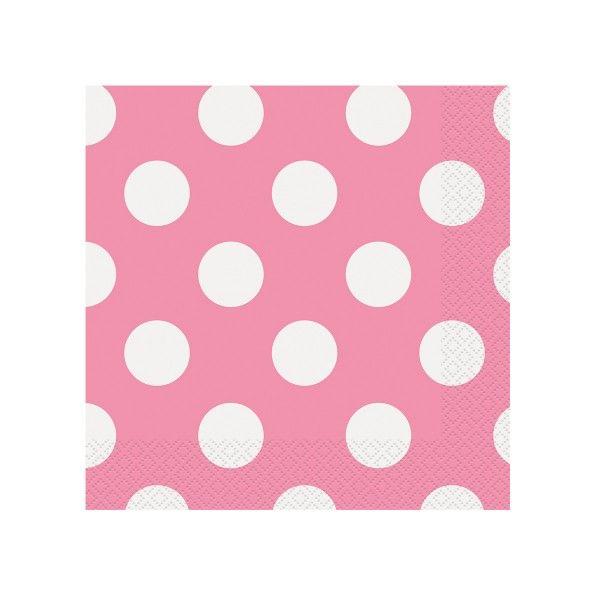 Servietten Punkte pink, 33cm, 16 Stück