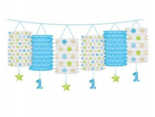 Laternen-Girlande 1. Geburtstag, Blau und Grün, 3,6 m